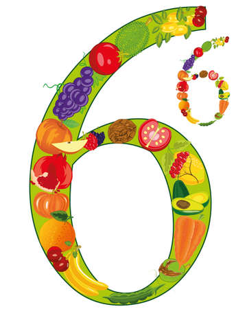 Decorative numeral six built from fruit and vegetables