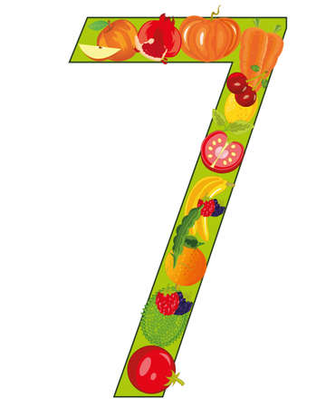 Numeral seven from fruit on white background is insulated Illustration