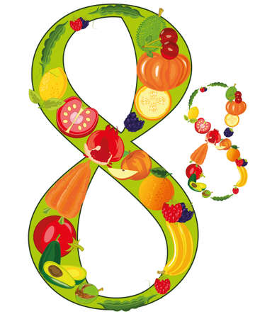 Decorative numeral eight from fruit and vegetables