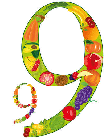 Decorative symbol numeral nine from vegetables and fruit