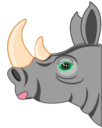 Portrait animal rhinoceros on white background is insulated 일러스트