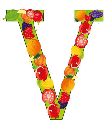 Vector illustration of the letter V decorative from fruit and vegetables