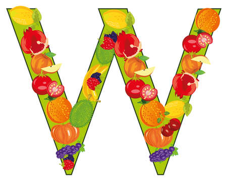 English decorative letter W from fruit and vegetables
