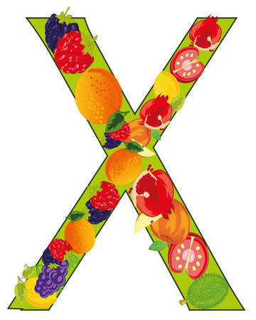 Decorative letter X fruit on white background is insulated