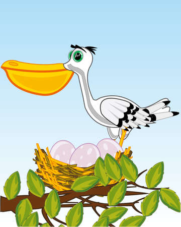 Bird pelican on jack with egg on tree 일러스트