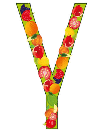 Decorative letter Y fruit on white background is insulated