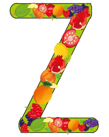 Decorative letter Z fruit on white background is insulated