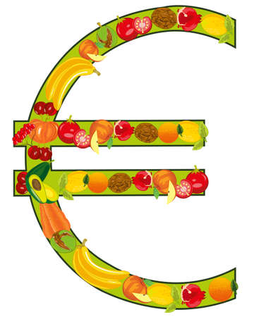 Decorative sign euro from fruit and vegetables