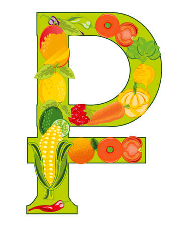 Decorative sign rouble from fruit and vegetables 일러스트