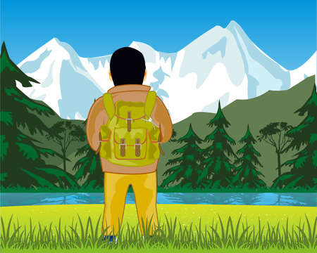 Man travellier beautiful landscape admires with rucksack
