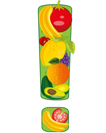 Decorative exclamation point from fruit and vegetables
