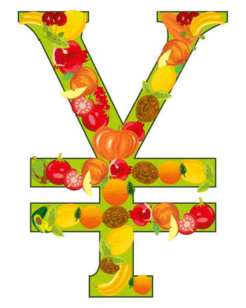 Decorative sign yen from fruit and vegetables 일러스트