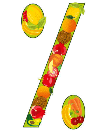 Sign percent decorative from vegetables and fruit 일러스트