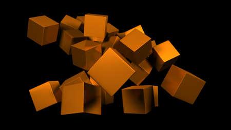 닦은 황금 큐브 스톡 콘텐츠