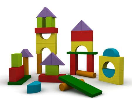 Colored Wooden Building Blocks Фото со стока