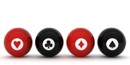 Poker Billiard ball with symbols photo