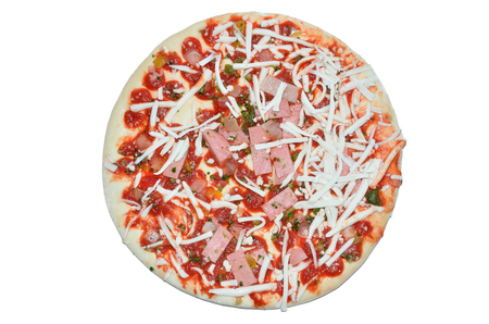 tomato paste: Semifinished pizza with cheese, ham and tomato paste on white background