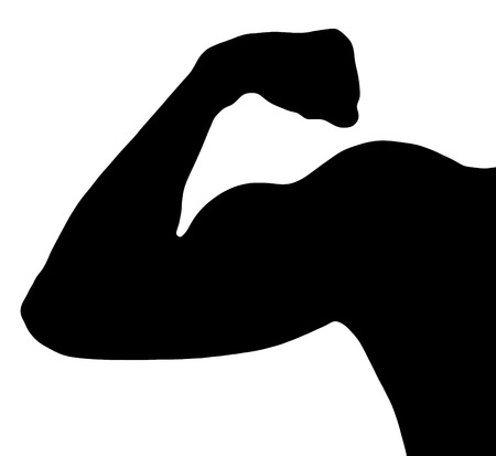 strong arm: Black silhouette of muscle biceps of strong man