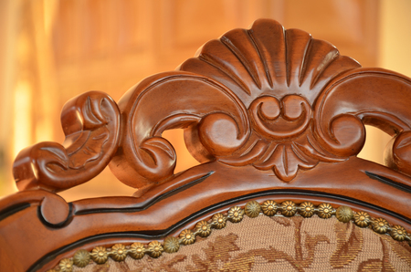 the padding: Detail of back an decorative wooden chair with padding