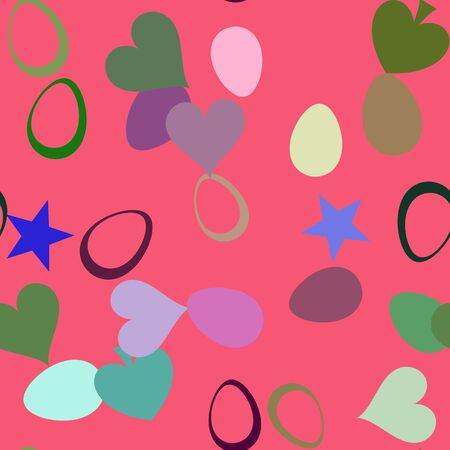 gaily: Color seamless background from heart and star shape Stock Photo