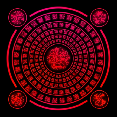 rune: Red ancient runes random generated on black background
