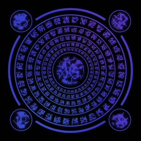 runes: Blue ancient runes random generated on black background Stock Photo