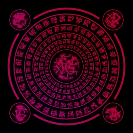 futhark: Red ancient runes random generated on black background