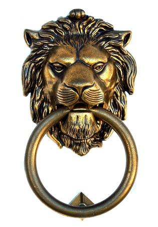 metal door: Bronze lion door knocker isolated on white background Stock Photo