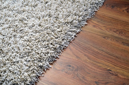 furry: White shaggy carpet on brown wooden floor detail