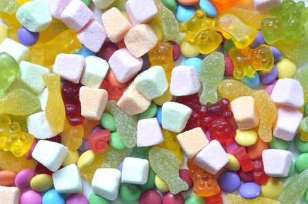 smarties: Candy, colored smarties and gummy bears background