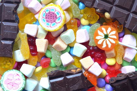 smarties: Candy, lollipop, chocolate, colored smarties and gummy bears background