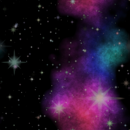 Seamless space pattern texture with color nebula photo