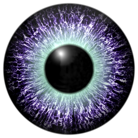 capillaries: Detail of eye with purple colored iris, white veins and black pupil with green glow