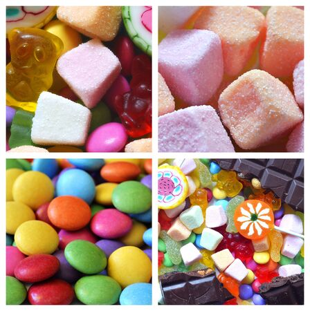 smarties: Collage of candies, smarties, chocolate, gummy bears and lollipops