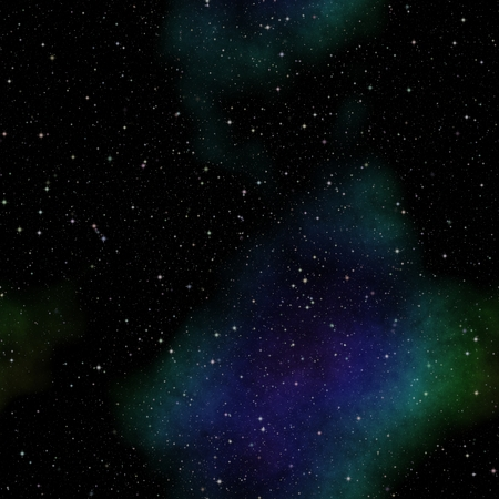 astral: Seamless space pattern texture with green and blue nebula Stock Photo
