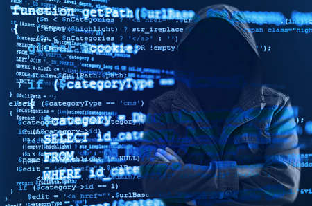 anonymity: Hacker without face symbolizing anonymity of cyberspace surrounded by source code