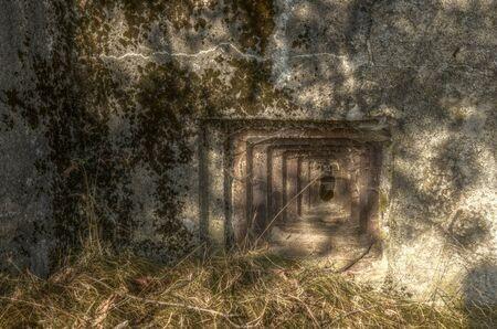 czechoslovakia: Detail of loophole of historic czechoslovakia concrete bunker HDR