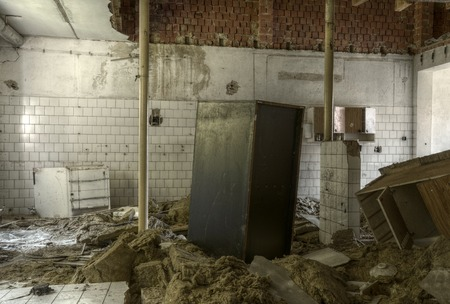 urban decline: Old interior of kitchen of socialistic hotel urbex HDR