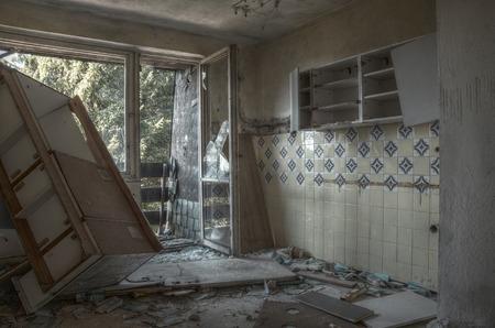 urban decline: Old interior of socialistic hotel urbex HDR
