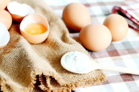 albumen: Eggs and broken raw egg with the yolk and albumen on a linen tablecloth with a striped dish towel, wooden rolling pin and wooden spoon with flour
