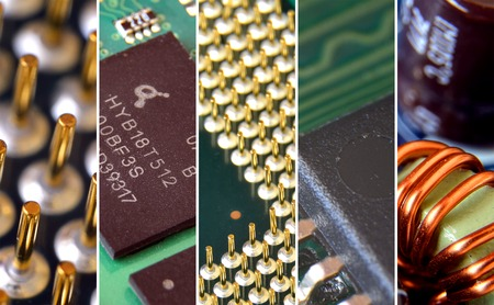 condenser: Collage of computer hardware parts close-up view on cpu, chip, motherboard, coil and condenser