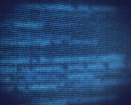 binary data: Abstract binary blue code on black digital screen with glow perspective view Stock Photo