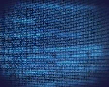 codigo binario: Resumen c�digo binario azul en la pantalla digital negro con brillo vista en perspectiva