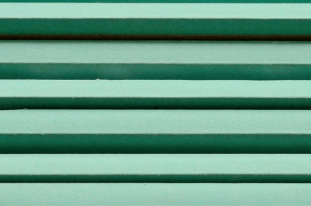 prefab: Special waterproof green drywall leaning against a wall Stock Photo