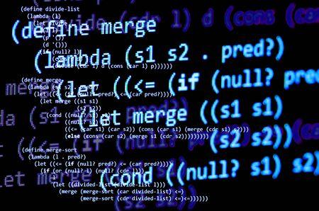 declarative: Functional programming code -  declarative paradigm, lambda calculus, blue color