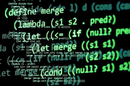 declarative: Functional programming code -  declarative paradigm, lambda calculus, green color