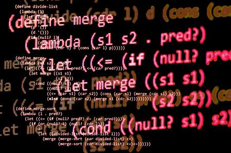 declarative: Functional programming code -  declarative paradigm, lambda calculus, red color Stock Photo