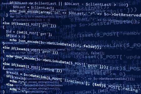 código de programación en pantalla azul, texto azul. Resumen de desarrollo de software (código fuente)
