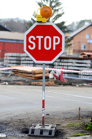 temporarily: Temporarily placed traffic sign STOP Stock Photo