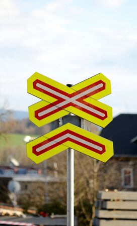 railroad crossing: Traffic sign railroad crossing on construction site